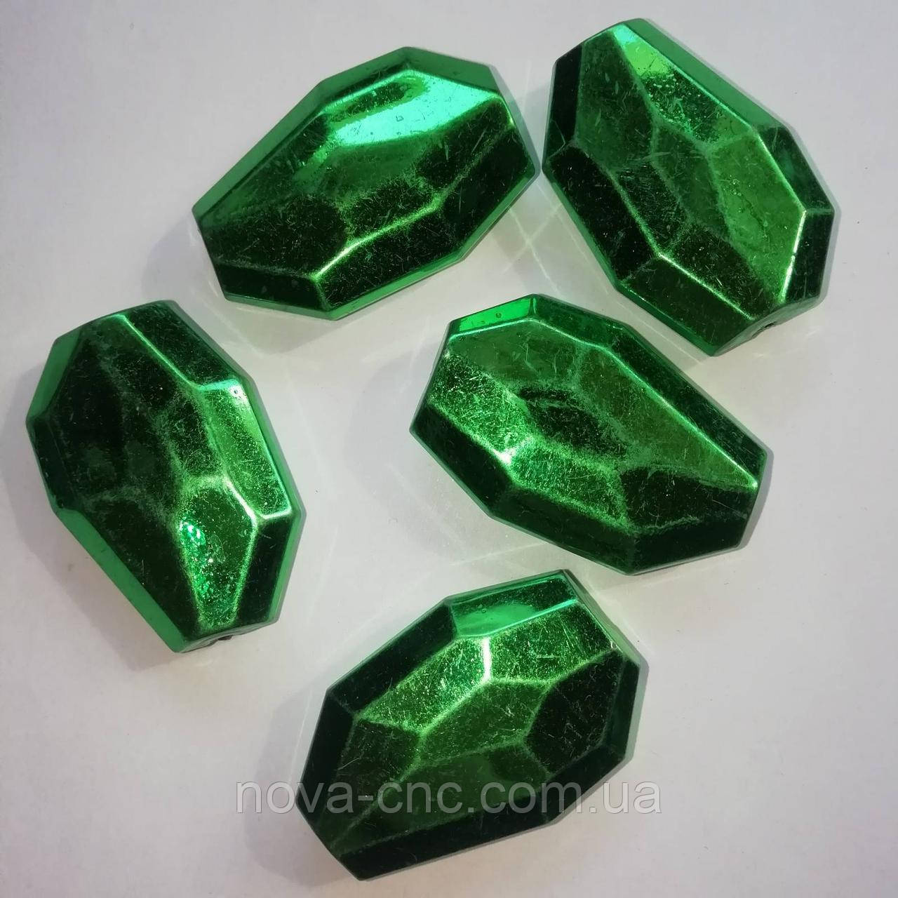 "Намистини пластик ""Кристал"" зелений 37 мм 500 грам"