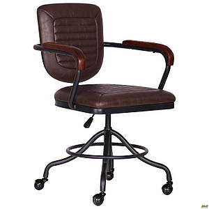 Перукарське крісло AMF Barber коричневе ретро стиль під старовину
