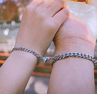 Парные браслеты с магнитом сердечком