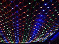 Гирлянда новогодняя светодиодная LED сетка штора синяя 1.5*1,5 м