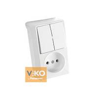 Комбинация розетки и выключателя 2-кл. белая (вертикальная) ViKO Vera, 90681089