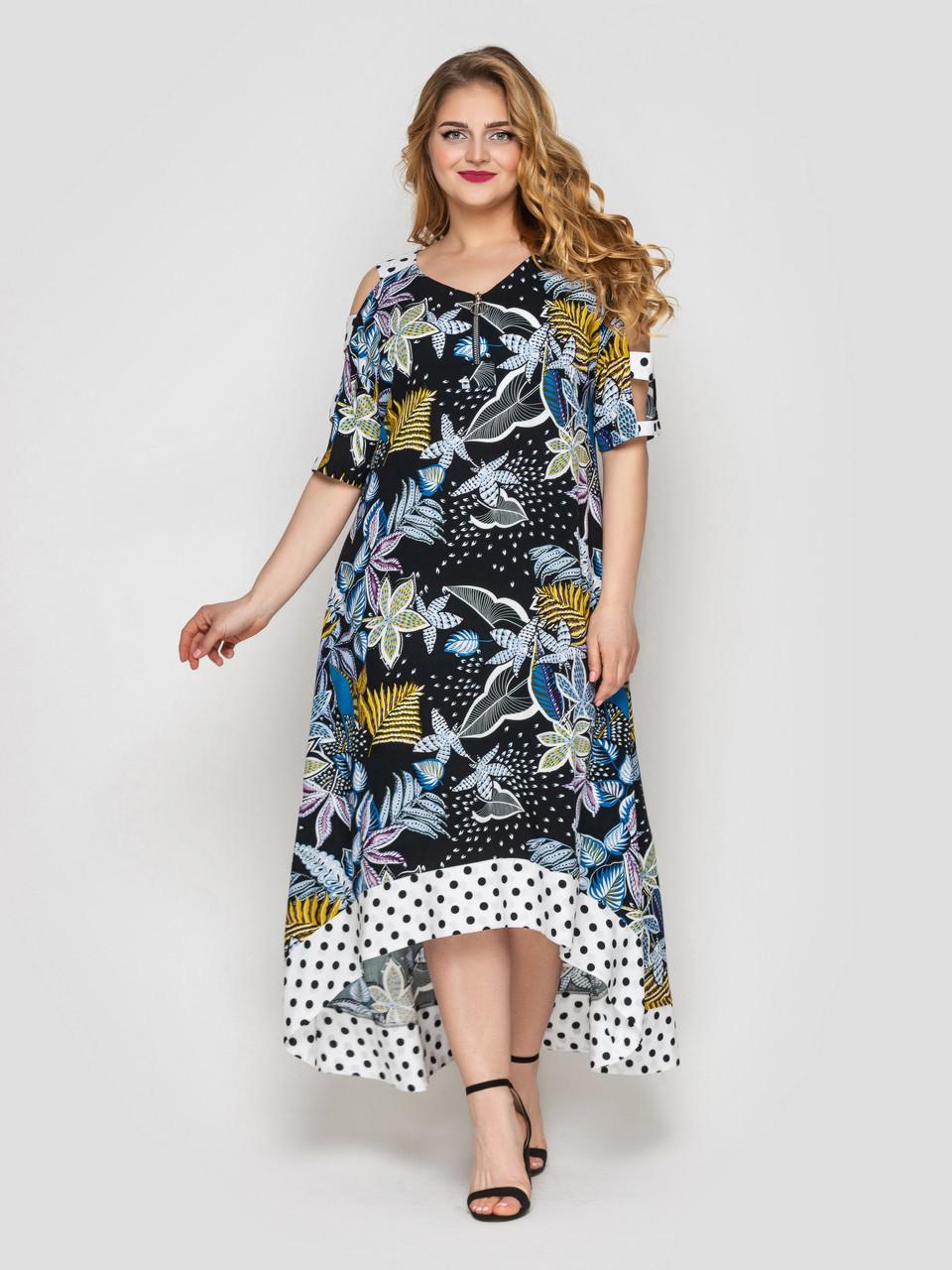 Летнее платье в пол Тропикана черное