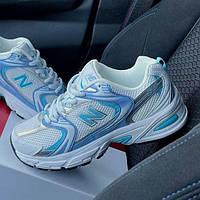 Женские кроссовки New Balance 530 White Blue | Нью Беланс 530 Белые с голубым