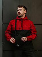 Мужская ветровка анорак Nike повседневная из плащевки, красно-черная с капюшоном (реплика)