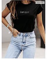 Женская футболка оверсайз c надписью Simplicity, Женская футболка стильная oversize трикотажная чёрный, белый
