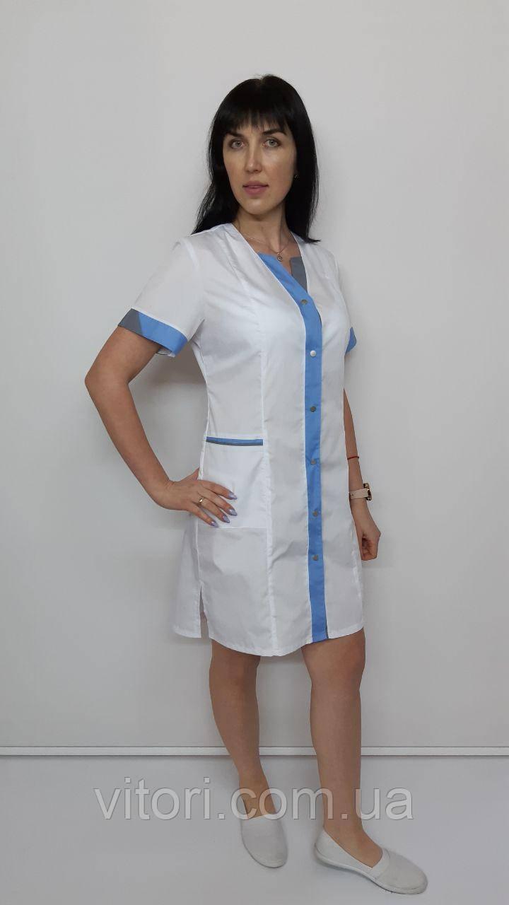 Жіночий медичний халат Еріка бавовна короткий рукав