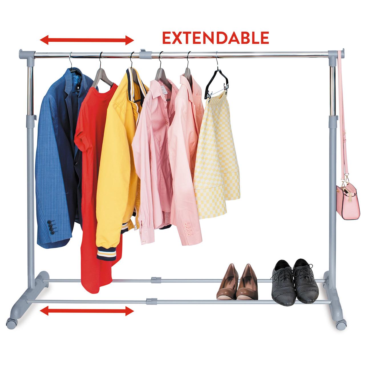 Стойка для одежды Tatkraft Party телескопическая на колёсиках металлическая L95х150ХH96.5х166ХD44 см (13315)
