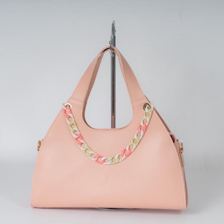 Пудровая розовая женская сумка 21-21/1 багет дамская трапеция на плечо