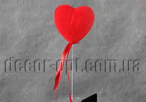 Сердце на палочке  пенопластовое с бархатом 6.5см/069