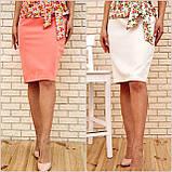 Костюм жіночий офісний спідниця, блузка (білий, р. 54,56), фото 9