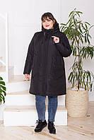 Жіноча молодіжна демісезонна куртка-парка Дн-4 з 4 кишенями, чорна