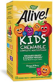 Витамины для детей Nature's Way Alive! Детский  мультивитамин вкус апельсина и ягод (120 жевательных таблеток)