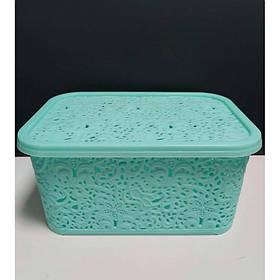 Корзина для хранения бытовых вещей Elif Plastik Ажур 10 л Мятный (377)
