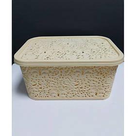 Корзина для хранения бытовых вещей Elif Plastik Ажур 10 л Кремовый (377)