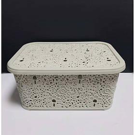 Корзина для хранения бытовых вещей Elif Plastik Ажур 10 л Бежевый (377)