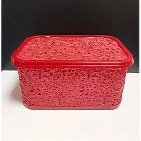 Корзина для хранения бытовых вещей Elif Plastik Ажур 10 л Красный (377)