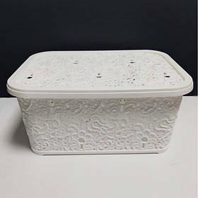 Корзина для хранения бытовых вещей Elif Plastik Ажур 10 л Белый (377)