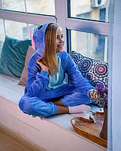 Теплая пижама Кигуруми Синий Стич   Для взрослых и детей
