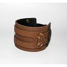 Широкий подвійний браслет-манжета з натуральної шкіри ручної роботи закривається на кнопку