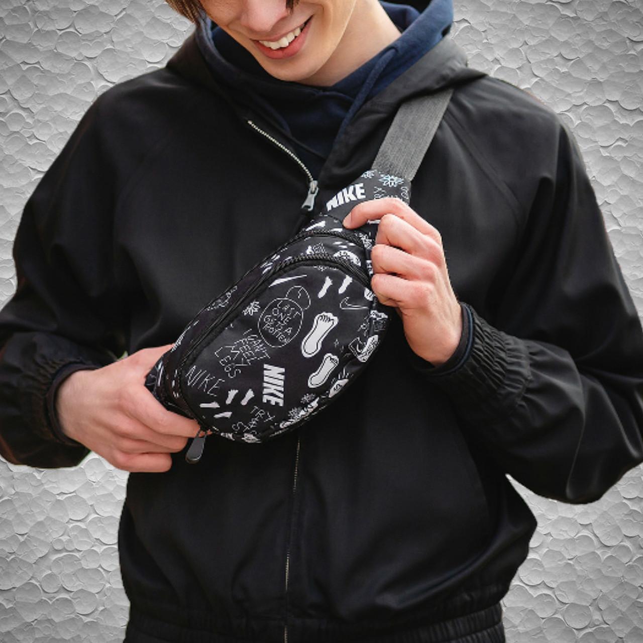 Мужская   женская черная бананка через плечо Nike. Поясная сумка, барсетка с принтом найк. Сумка на пояс
