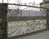Ворота откатные, с элементами художественной ковки