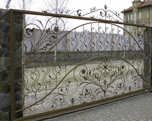 Ворота откатные, с элементами художественной ковки, фото 1