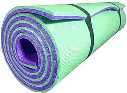 """Каремат для йоги 1800×600×12мм, """"Карпаты"""" двухслойный, зеленый/фиолетовый"""