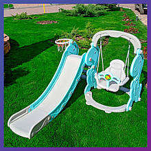 Дитячий пластиковий ігровий комплекс 2 в 1 гірка з кільцем + гойдалка Bambi YG2020 сіро-м'ятний для будинку