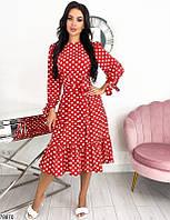 Красное платье миди  в горошек с оборкой по низу
