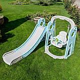 Детский пластиковый игровой комплекс 2 в 1 горка с кольцом + качель Bambi YG2020 серо-мятный для дома, фото 2