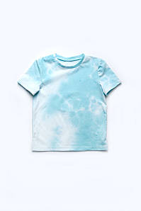Стильная футболка в оттенках 'Тай-дай' на мальчика бирюзовая