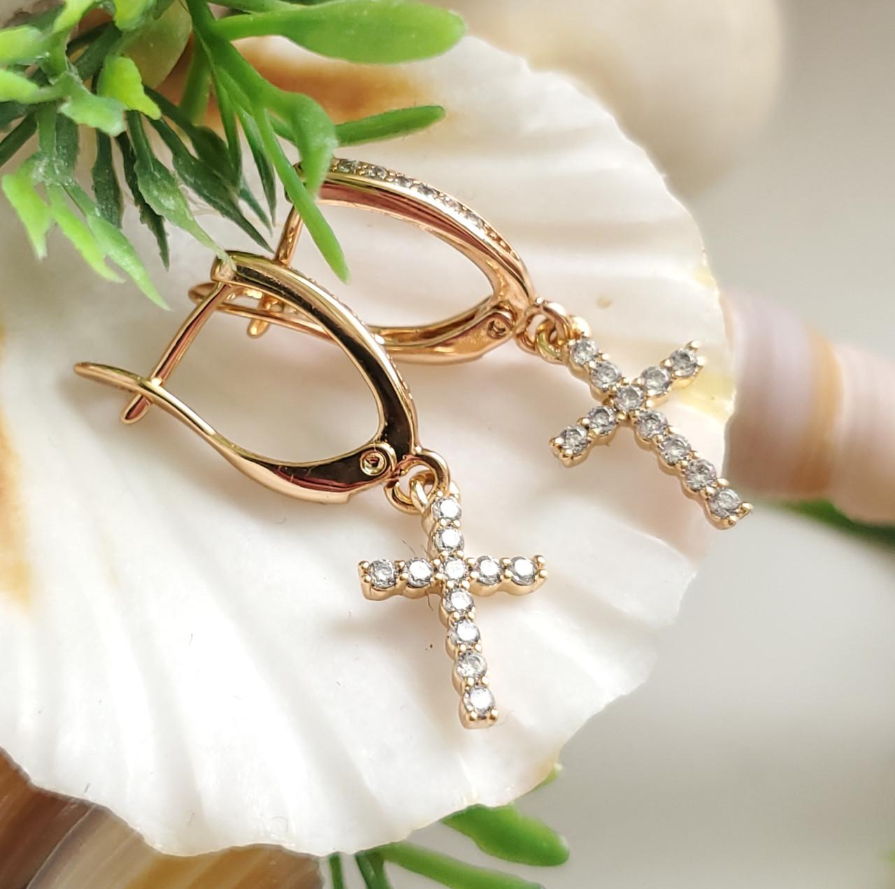 Сережки з хрестиками Xuping довжина 3см медичне золото позолота 18К  с905