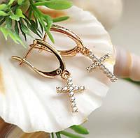 Сережки з хрестиками Xuping довжина 3см медичне золото позолота 18К  с905, фото 1