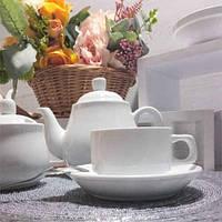 Чашка Фарфоровая Белая С Блюдцем 200мл (HR1301), фото 1