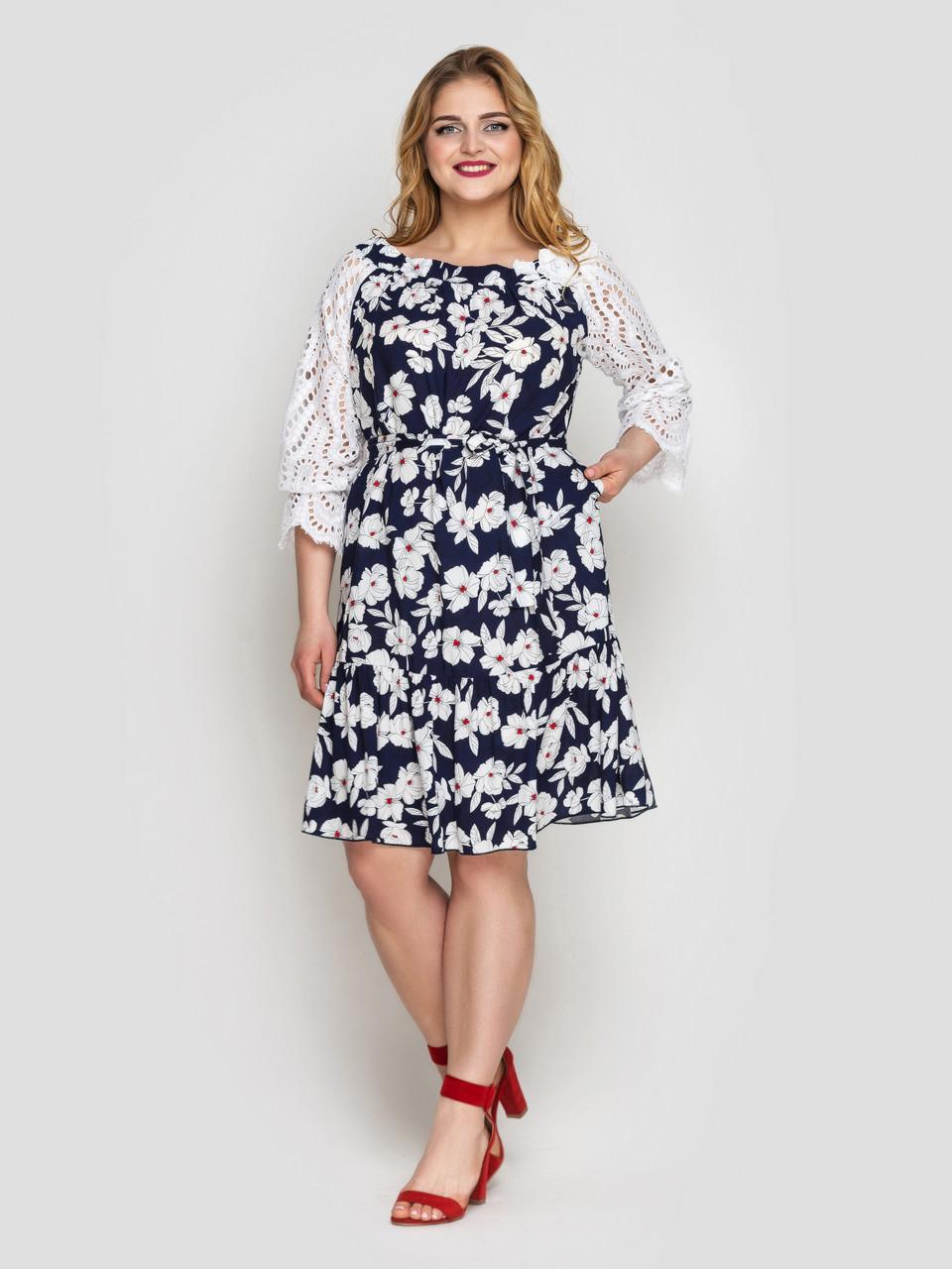 Летнее платье Матильда синее