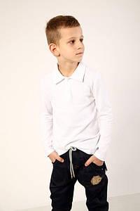 Футболка-поло з длинным рукавом для мальчика белая