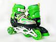Дитячі ролики для початківців з захистом розмір 29-33 LikeStar зелений колір, фото 2