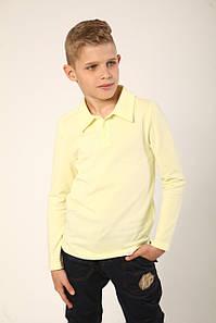 Футболка-поло з длинным рукавом для мальчика желтая