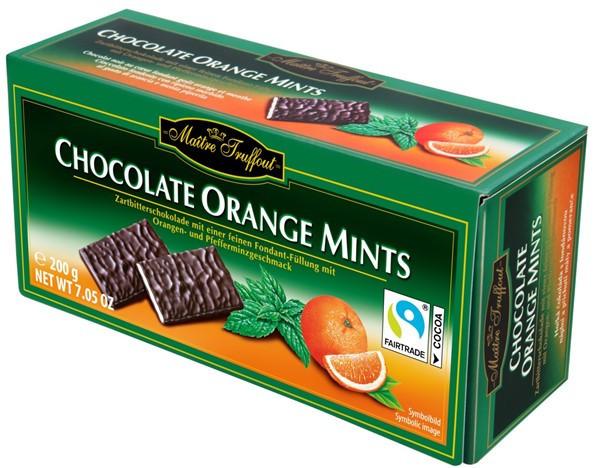 Шоколад чёрный Chocolade Orange Mints Maitre Truffout 200г