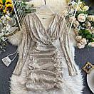 Женское потрясающее платье с пайетками Айвори, фото 2