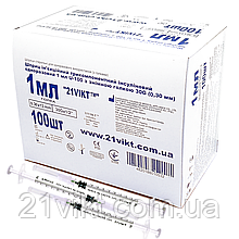 Шприц инсулиновый 1 мл U-100 со съемной иглой 21VIKT одноразовый стерильный