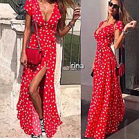 Женское модное летнее платье на запах в горох (Норма), фото 2