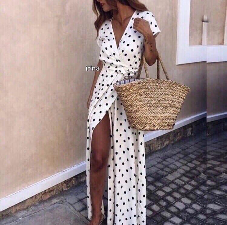 Женское модное летнее платье на запах в горох (Норма)