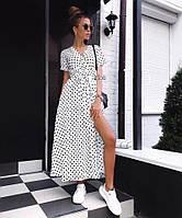 Женское модное летнее платье на запах в горох (Норма), фото 6
