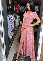 Женское модное летнее платье на запах в горох (Норма), фото 7
