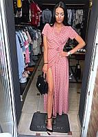 Женское модное летнее платье на запах в горох (Норма), фото 8