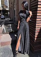 Женское модное летнее платье на запах в горох (Норма), фото 10