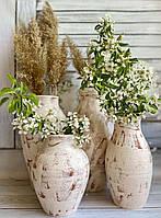 Набор вазонов из красной глины Керамклуб ангоб ручной работы h 45 h 55 см
