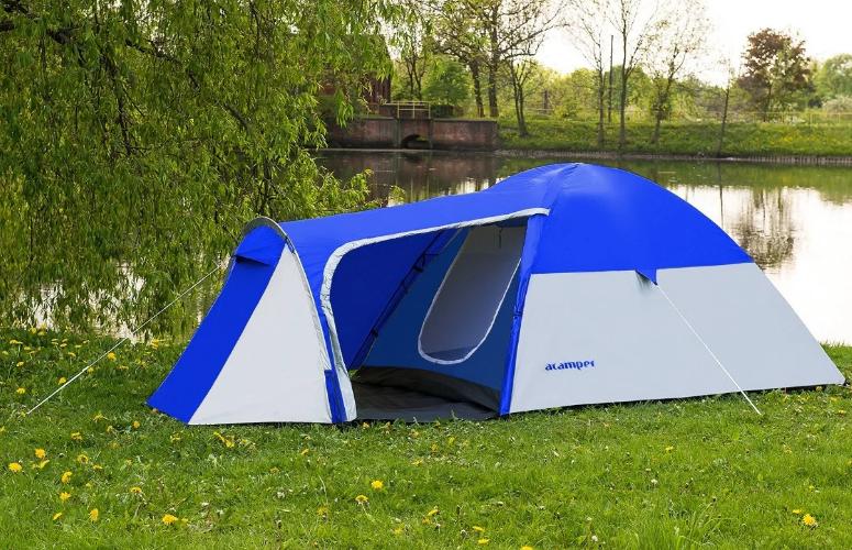 Походная двухслойная палатка 3-х местная для отдыха на природе Presto Acamper MONSUN 3 PRO синяя - 3500мм