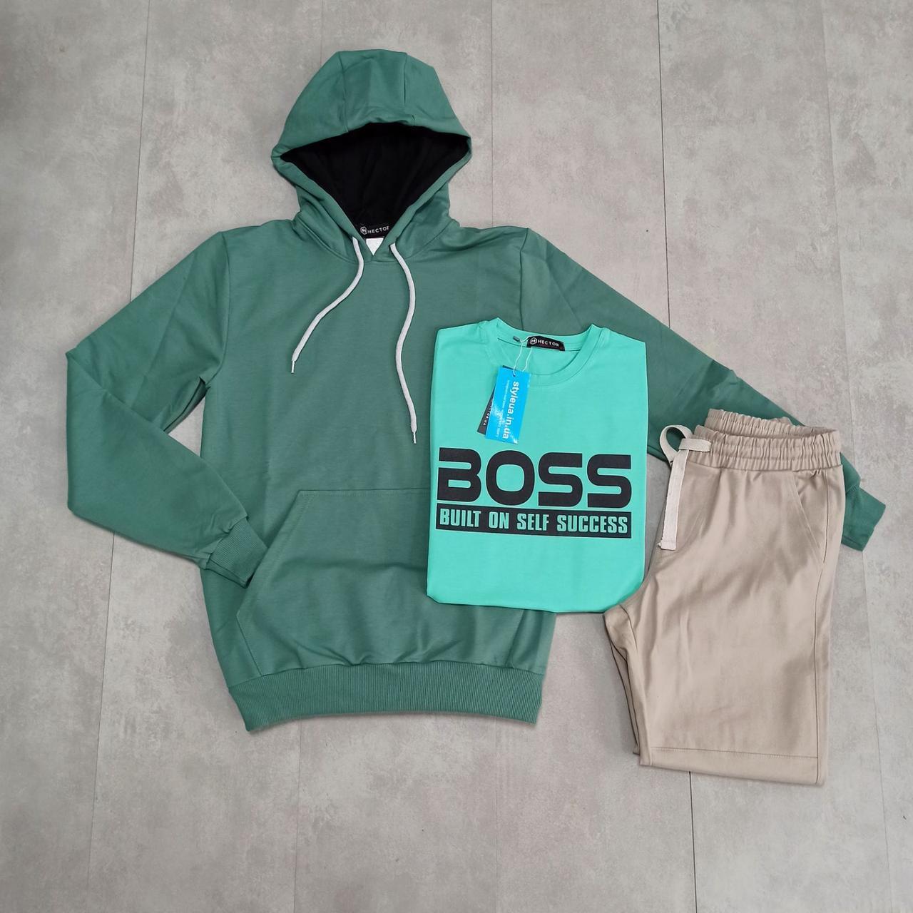 Чоловічий спортивний комплект худі з капюшоном + спортивні штани + однотонна футболка з накатом